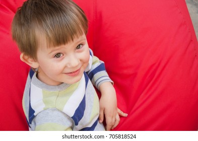 Portrait of a child on a red background. View from above