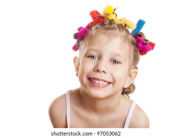 a portrait of a child on a white background
