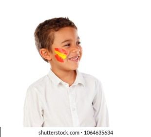 Portrait of a child with spanish colors flag painted on his face