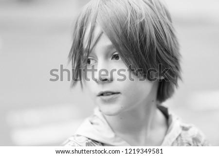 Portrait Child Stylish Haircut Open Air Stock Photo Edit Now