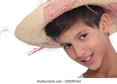 Portrait of child wearing a hat