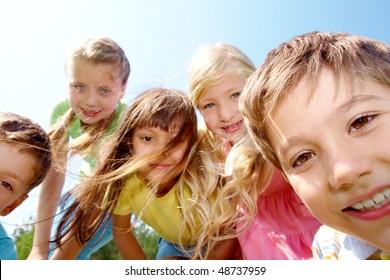 Portrait of children having fun in the open air