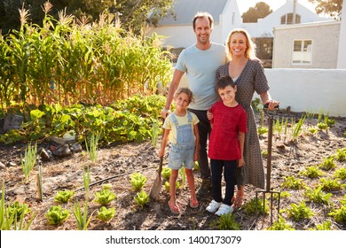 Portrait Of Children Helping Parents To Look After Vegetables On Allotment