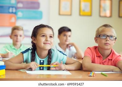 Portrait of children in school at the lesson