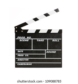 Portrait Of Clapper Board On White Background