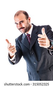 portrait of a classy businessman wearing a suit isolated over a white background