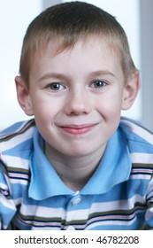Portrait close up the small beautiful boy