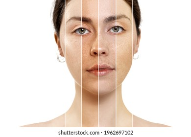 Portrait of a close-up of a brunette woman, with a face with a different skin color. Isolated on a white background. The concept of the selection of foundation cosmetics.