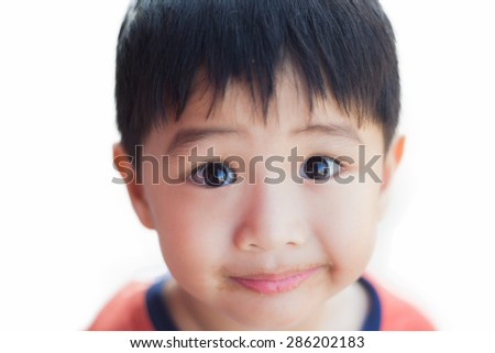 Portrait Closeup Of A Thai Cute Boy On White Isolate Background With Copy Space What