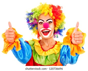 Portrait of clown with makeup thumb up.