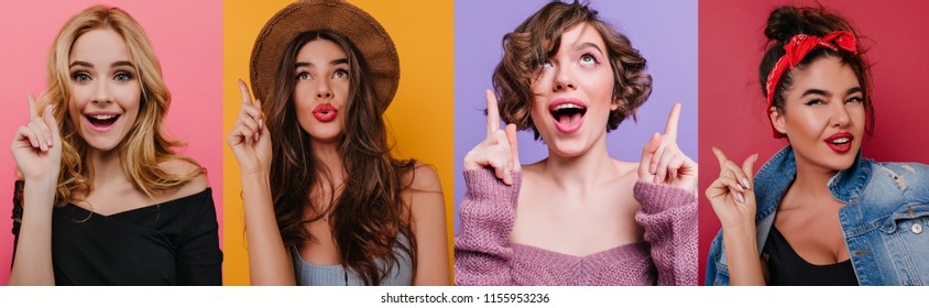 Portrait collage of ecstatic young woman with happy face expression laughing on bright pink background. Indoor photo of lovely female model wears elegant black attire.