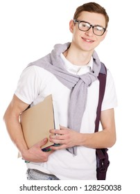 Portrait of a college guy with books, isolated on white background