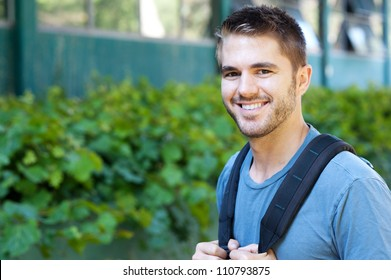 portrait of a college student on campus