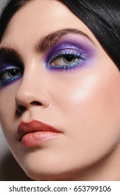 Portrait of colorful makeup. Creative make-up.