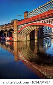 A portrait of the colourful canal basin at Castlefield, Manchester, UK