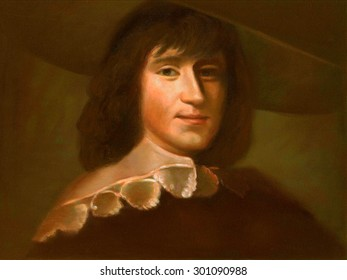 A portrait of the composer/performer in oil paint