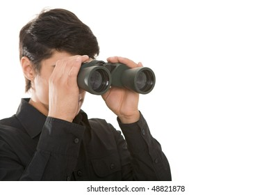 Portrait of confident boss holding binoculars and looking for colleagues