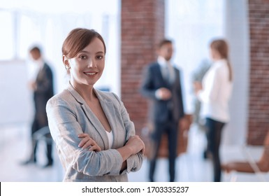 portrait of confident business woman on the background of the of