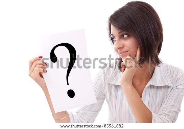 Portrait of confident business woman with question mark sign on white background