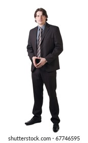 Portrait of a confident businessman with clasped hands over white background