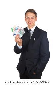 Portrait of a confident businessman holding a money after a deal