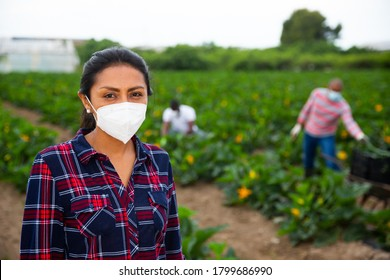 Portrait of confident latin american female farmer wearing protective face mask during harvest on courgettes field. Forced precautions during coronavirus pandemic
