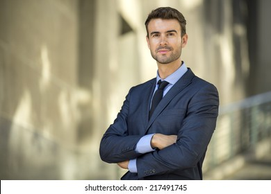 Portrait of confident lawyer outside the office