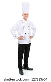 Portrait of confident male chef smiling isolated on white background