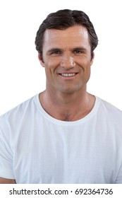 Portrait of confident mature man against white background