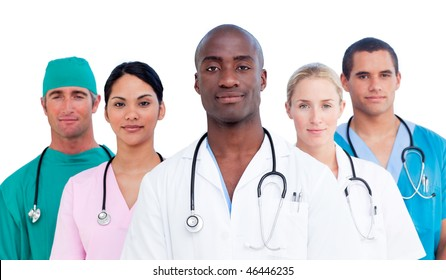 Portrait of confident medical team against a white background
