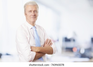 Portrait of a confident old professional man standing in the office.