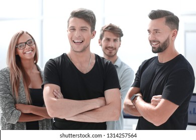 Portrait of confident peoples with colleagues in meeting at office