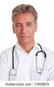 Portrait of a confident senior physician with grey hair