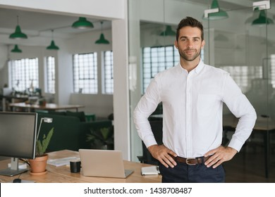 Portrait of a confident young businessman standing alone in a large modern office with his hands on his hips