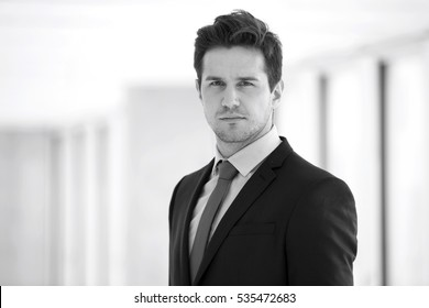 Portrait of confident young businessman wearing suit in office