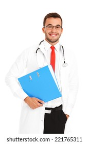 A portrait of a confident young doctor holding a file over white background