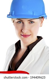 Portrait of confident young female architect standing isolated over white background