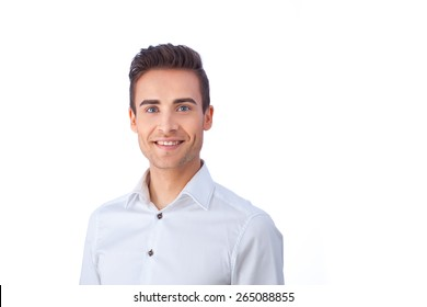 Portrait of a confident young man isolated against white background