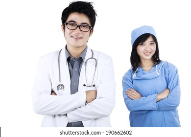 Portrait of confident young medical team at hospital
