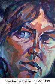 Portrait of a 'Conflicted Woman', acrylic painting.