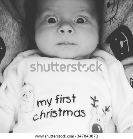 acf06735b Portrait Confused Baby His First Christmas Stock Photo (Edit Now ...