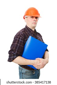 Portrait of construction builder isolated on white background.