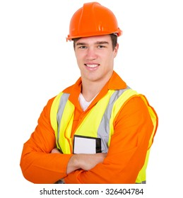 portrait of construction worker with arms folded