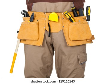 Portrait of construction worker. Isolated on white background