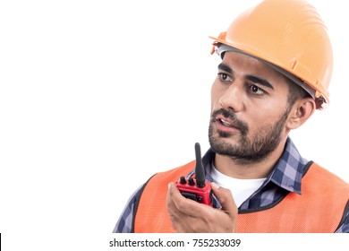 Portrait of construction worker isolated on white background