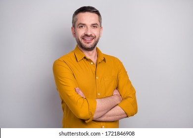 Portrait of content clever intelligent executive man cross hands ready decide start-up solution decisions wear stylish clothes isolated over gray color background
