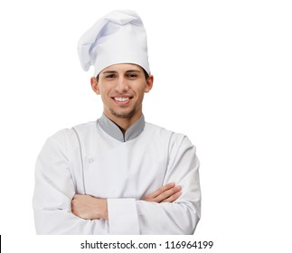 Portrait of cook with arms crossed, isolated on white
