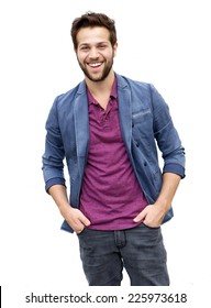 Portrait of a cool attractive young man with beard laughing on isolated white background