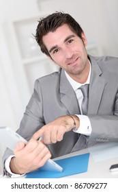 Portrait of cool businessman