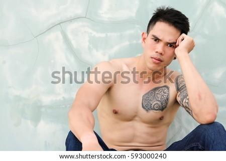 Sexy tattoo asian men